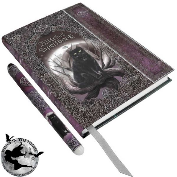 NEMESIS NOW Witches Spell Book Embossed Notebook and Pen